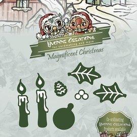 Yvonne Creations Stampaggio e goffratura stencil, Yvonne Creations, magnifico Natale, candele Set