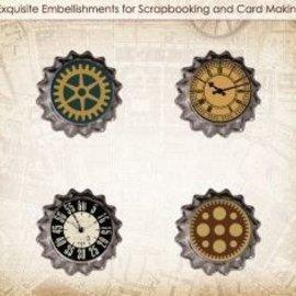Embellishments / Verzierungen Set de ScrapBerry Of Metal Cork Vintage Car