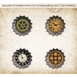 Embellishments / Verzierungen ScrapBerry's set van metalen Cork Auto Vintage