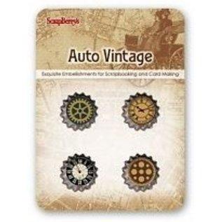 Embellishments / Verzierungen ScrapBerry's Set Of Metal Cork Auto Vintage