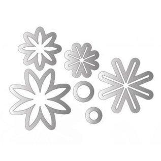 Sizzix Stampen en Embossing stencil, Sizzix punch Framelits met stempel set bloemen ster 17tlg Set