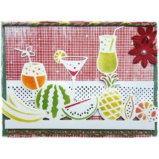Joy!Crafts / Jeanine´s Art, Hobby Solutions Dies /  Ponsen en embossing stencil grens met fruit