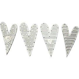 Embellishments / Verzierungen Pegatinas, tamaño 25x45 mm, corazones, ordenados 8