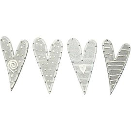 Embellishments / Verzierungen Stickers, size 25x45 mm, hearts, sorted 8