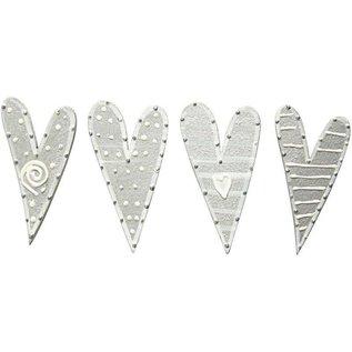 Embellishments / Verzierungen Stickers, size 25x45 mm, hearts, sorted 8
