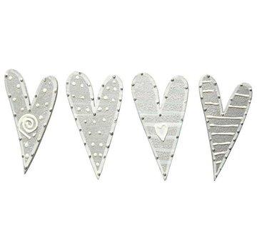Embellishments / Verzierungen Klistermærker, størrelse 25x45 mm, hjerter, sorteret 8