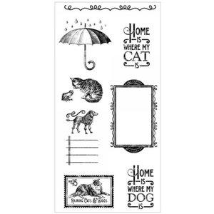 GRAPHIC 45 Rubber zegel, Raining Cats & Dogs