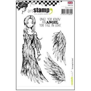 """Stempel / Stamp: Transparent Gummistempel, """"en engel at elske"""" SIDSTE KOPIER !!"""