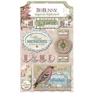 BO BUNNY 3D stickers, spaanplaat Garden Journal gesorteerd