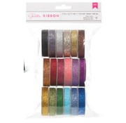 DEKOBAND / RIBBONS / RUBANS ... A Set of 18 Glitter decorative ribbons !!