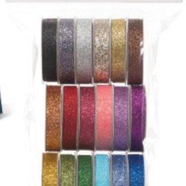 DEKOBAND / RIBBONS / RUBANS ... Et sæt af 18 Glitter dekorative bånd !!