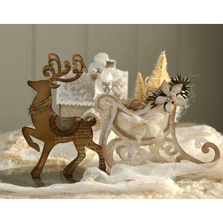Tattered Lace Stempelen en ponsen template, flarden Kant, Reindeer