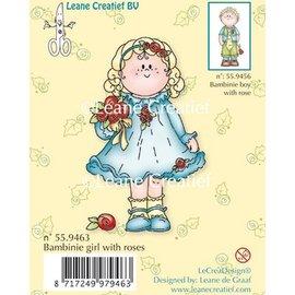 Leane Creatief - Lea'bilities und By Lene Transparent Stempel, Bambini Mädchen mit Rosen