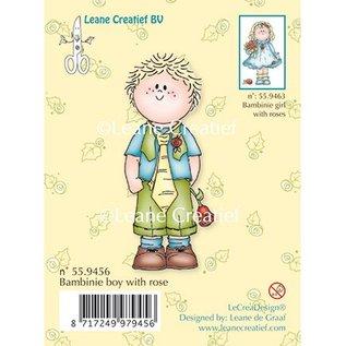 Leane Creatief - Lea'bilities und By Lene Clear stempels, Bambini jongen met een roos