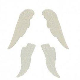 Embellishments / Verzierungen Set ali di metallo, 4 pezzi, bianco