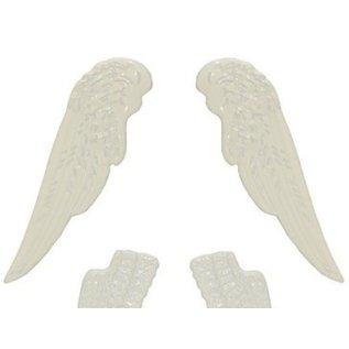 Embellishments / Verzierungen Metal Set wings, 4 pieces, white