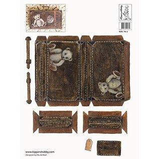 DECOUPAGE AND ACCESSOIRES 2 Knipvel A4, nostalgie koffer in donker en licht bruin