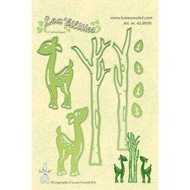 Leane Creatief - Lea'bilities und By Lene Perforación y relieve plantilla Lea'bilitie, renos y árboles