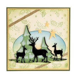 Leane Creatief - Lea'bilities und By Lene Ponsen en embossing sjabloon Lea'bilitie, kerstbomen