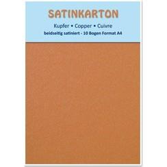 10 sheets, cardboard Metallic Set A4, metallic satin finish on both sides, 250gr. / Square meter, copper