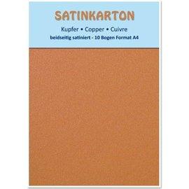 Karten und Scrapbooking Papier, Papier blöcke 10 ark, karton Metallic Set A4, metallisk satineret overflade på begge sider, 250gr. / Kvadratmeter, kobber
