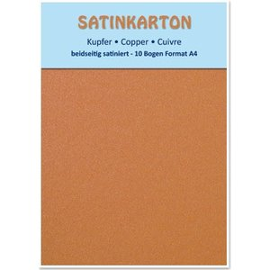 Karten und Scrapbooking Papier, Papier blöcke 10 Bögen, Metallic Karton Set A4, Metallic beidseitig satiniert, 250gr. / qm, kupfer