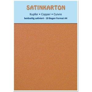 Karten und Scrapbooking Papier, Papier blöcke 10 feuilles, carton Metallic Set A4, fini satiné métallisé sur les deux côtés, 250gr. / Mètre carré, le cuivre