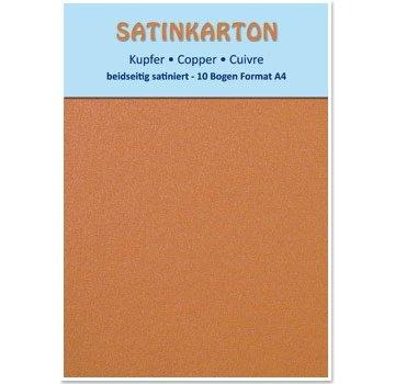 Karten und Scrapbooking Papier, Papier blöcke 10 fogli, cartone Metallic Set A4, satinate metallico su entrambi i lati, 250gr. / Metro quadrato, di rame