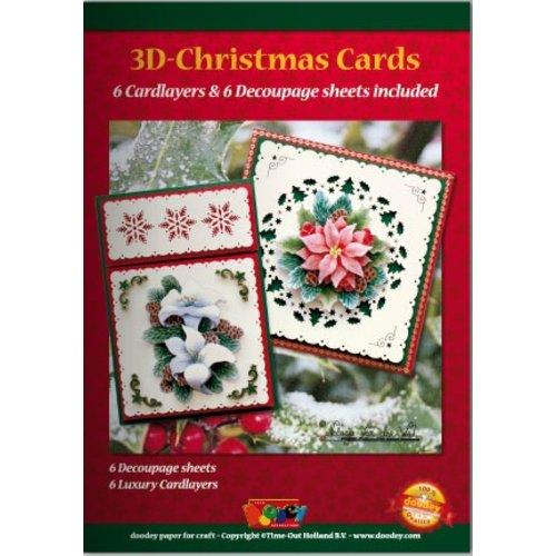 KARTEN und Zubehör / Cards A5 Bastelbuch voor 6 3D kerstkaarten + 6 Card lay-outs