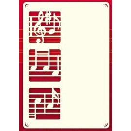 KARTEN und Zubehör / Cards Een set van 3 Luxe oplegkaart A6, met muzieknoten