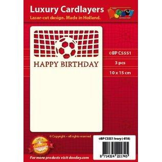 KARTEN und Zubehör / Cards Een set van 3 Luxe oplegkaart A6, thema: Footbal