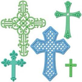 Spellbinders und Rayher Spellbinders, troquelado y estampado en relieve plantilla Shapeabilities, cruces