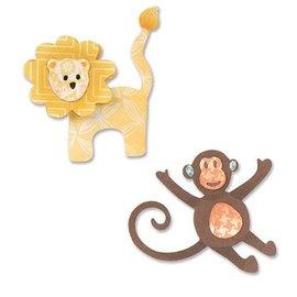 Sizzix Y el estampado de la plantilla, ThinLits, león y el mono