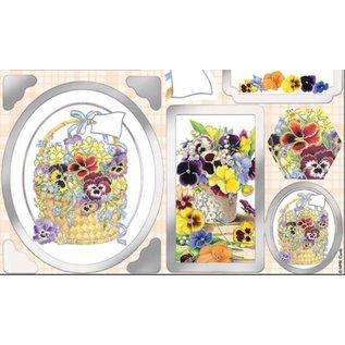 Bilder, 3D Bilder und ausgestanzte Teile usw... Luxury A4 Die Cut foglio, viole del pensiero