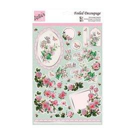 Bilder, 3D Bilder und ausgestanzte Teile usw... Luxury A4 3D die cut sheet with silver foil, Rose Bouquet