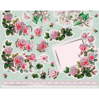 Bilder, 3D Bilder und ausgestanzte Teile usw... Luksus A4 3D die cut ark med sølvpapir, Rose Bouquet