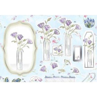 Bilder, 3D Bilder und ausgestanzte Teile usw... Luxus A4 3D Stanzbogen mit Silberfolien,Lavender