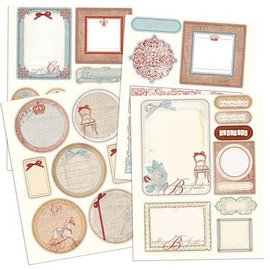 Prima Marketing und Petaloo Prima Marketing, autocollants Chipboard avec des paillettes Efekt