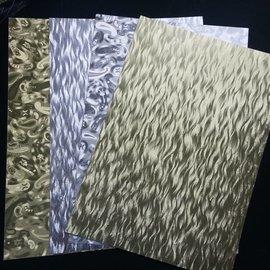 Karten und Scrapbooking Papier, Papier blöcke A4 ark lamineret pap plade i metal gravering, 4 ark, guld og sølv