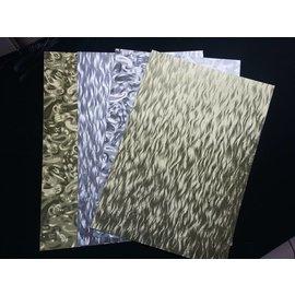 Karten und Scrapbooking Papier, Papier blöcke A4-vel van gelamineerde kartonnen vellen in metaalgravure, 4 vellen, goud en zilver