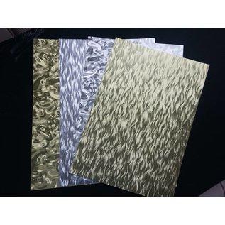 Karten und Scrapbooking Papier, Papier blöcke A4 sheet laminated cardboard sheet in metal engraving, 4 sheets, Gold and Silver