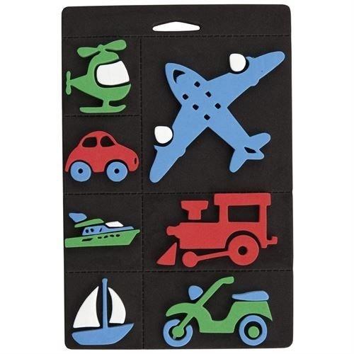 Kinder Bastelsets / Kids Craft Kits Foam rubber stamp set, transport, train and airplane for children