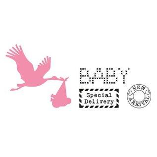 Marianne Design Cutting en embossing stencils, Collectibles, de ooievaar met baby