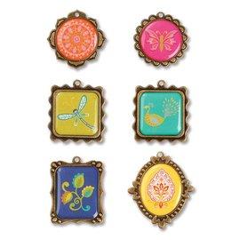 Embellishments / Verzierungen Sizzix, metalen versieringen 6 montuur