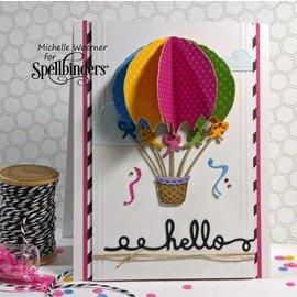 Spellbinders und Rayher Spellbinders, stempelen en Embossing Stencil Up and Away Ballon