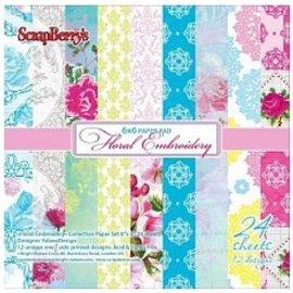 Wild Rose Studio`s Scrapbooking Papir, Floral Broderi