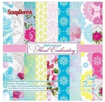 Wild Rose Studio`s Carta Scrapbooking, ricamo floreale