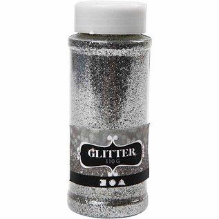 BASTELZUBEHÖR, WERKZEUG UND AUFBEWAHRUNG grote glitterstrobox van 110gr, zilver