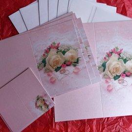 BASTELSETS / CRAFT KITS Elegante juego de tarjetas para ocasiones festivas, anillos de boda con rosas blancas - ¡ÚLTIMO JUEGO!