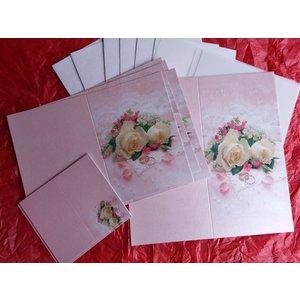 BASTELSETS / CRAFT KITS Elegant kort sæt til festlige lejligheder, vielsesringe med hvide roser - LAST SET!